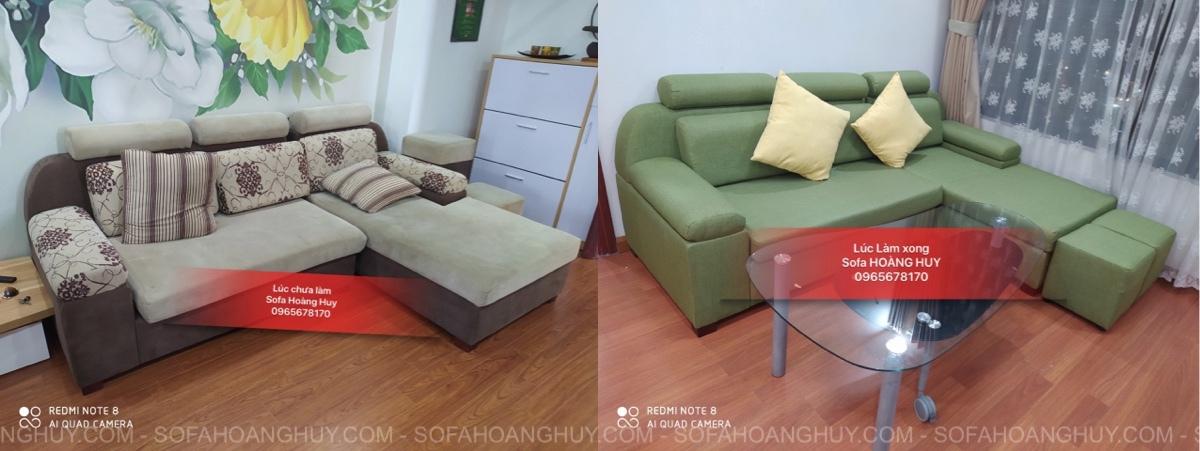 Bộ Sofa nhà anh Tâm trước và sau khi trải qua dịch vụ của Sofa Hoàng Huy