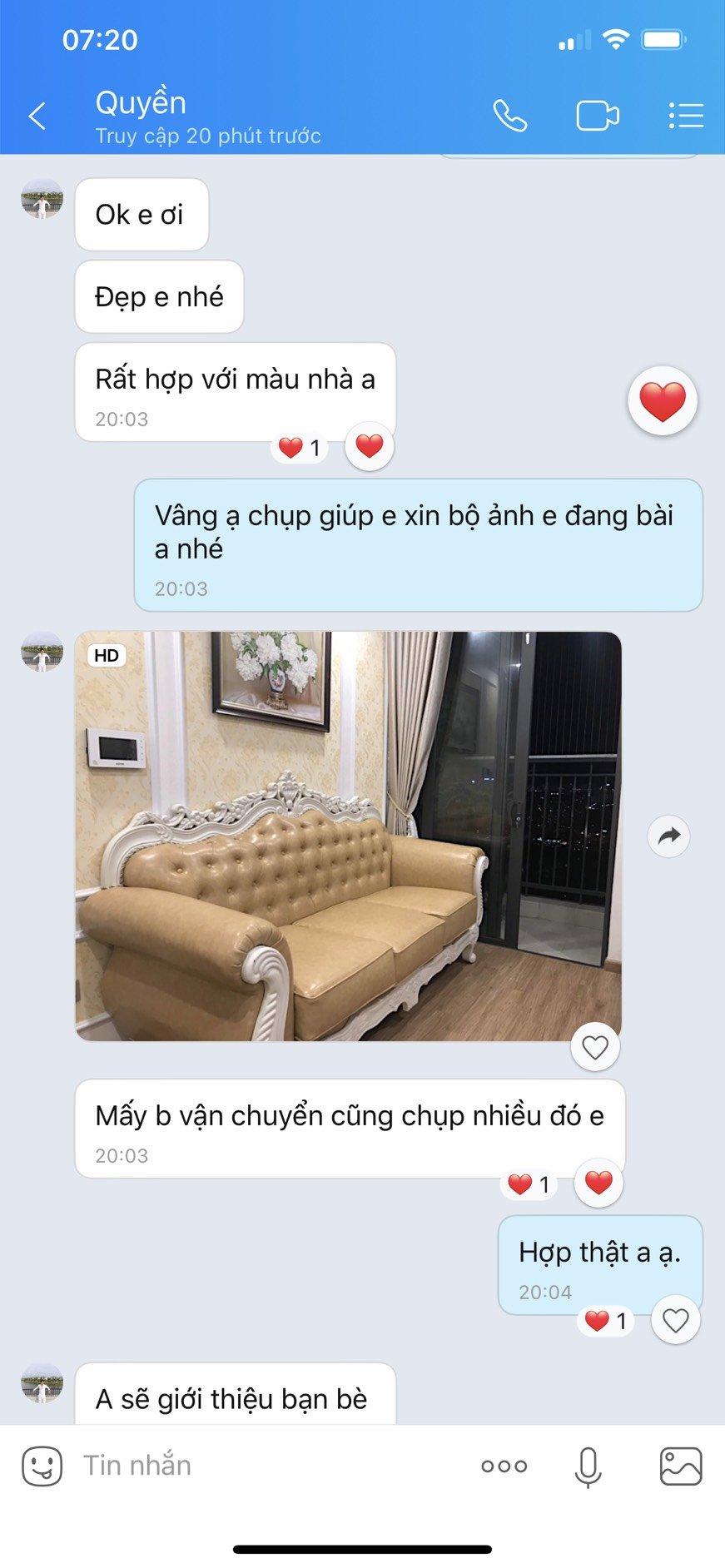 Phản hồi của a Quyền sau khi sử dụng dịch vụ của sofa Hoàng Huy