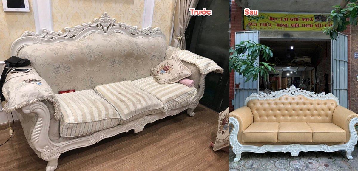 Bọc lại ghế sofa cổ điển nhà a Quyền