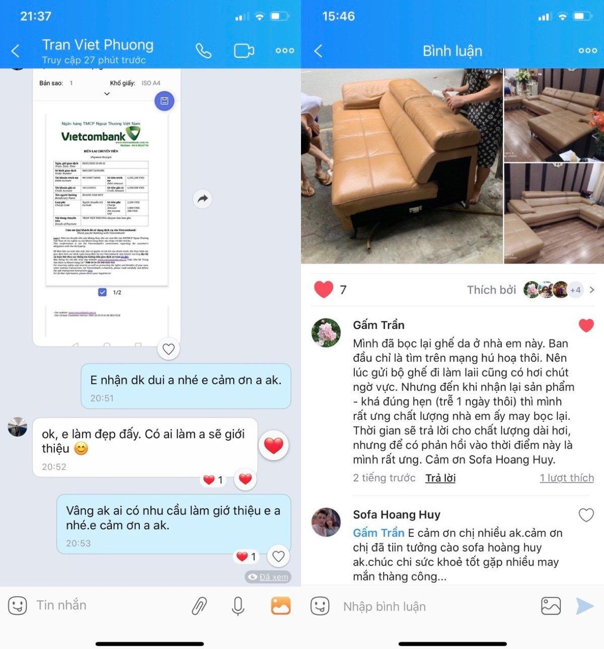 Phản hồi của khách hàng về sofa Hoàng Huy